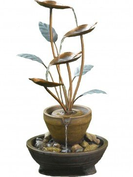 Solar Powered York Copper Cascade Water Feature with LED light, Battery Back Up and Charger