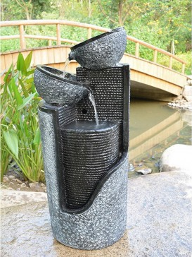 Stone Pillar and Bowls Water Feature Fountain