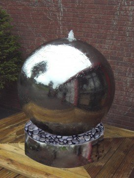 Aterno7 75cm Solar Stainless Steel Sphere Water Feature With Steel Base