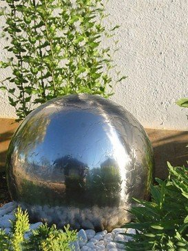 Aterno5 45cm Solar Steel Sphere With LED, Battery, Pebble Pool & Charger Garden Water Feature By Aqua Moda