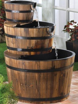 Solar Edinburgh Wooden Barrel Water Feature