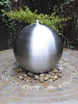Aterno7 75cm Solar Brushed Stainless Steel Sphere Water Feature