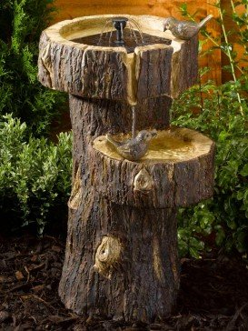 Treetrunk Birdbath by Smart Solar Garden Water Feature