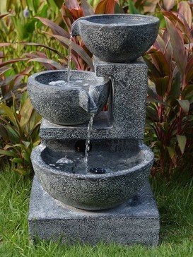 Solar Granite Cascading Bowls Water Feature