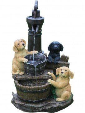 Three Puppies at Pump Water Feature by Aqua Creations