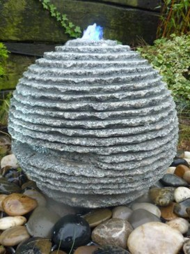 Grey Rustic Sphere Marble Water Feature