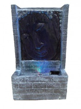 Grey Buddha Face with Brick Water Feature