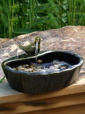 Solar Powered Ceramic Dove Water Feature