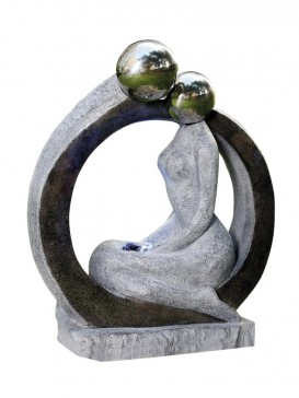 Sitting Lady Two S/S Spheres Water Feature