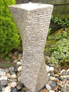 Beige Granite Drilled Twisted Column Water Feature