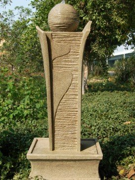 Contemporary Sandstone Pillar and Ball Water Feature