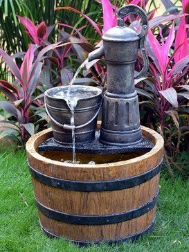 Pump on Wooden Barrel Water Feature