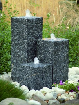 Three Granite Columns Water Feature With LED Lights
