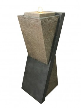 Diagonal Stone Pillar Water Feature