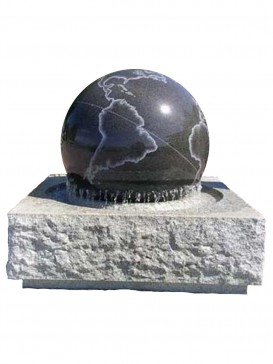 Rotating Granite Ball Water Feature with Etched World Ball