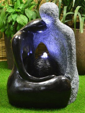 Solar Powered Granite Couple Water feature with Battery Back up LED lights and charger