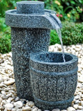 Aqua Moda Solar Granite Millstone Water Feature With LED Lights