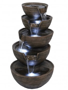 Pouring Brown Bowls Water Feature