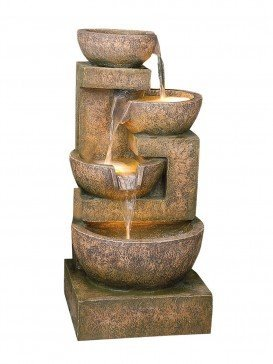 Four granite copper bowls water feature