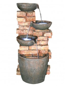 Four Bowls on Brick Wall Water Feature