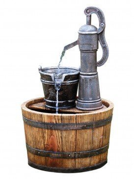 Pump on Wooden Barrel By Aqua Creations