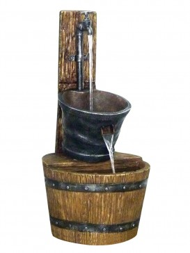 Tap on Post with Barrel Water Feature