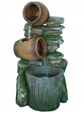 Two Pots with Bucket on Slate Water Feature