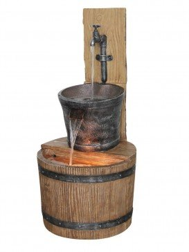 Oak Barrel with Tap Water Feature with LED Lights by Aqua Creations - PWF2147