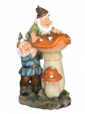 Two Gnomes on Toadstools Water Feature