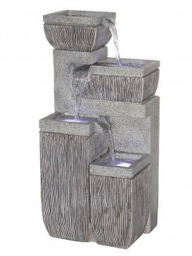 Four Bowl Textured Granite Water Feature