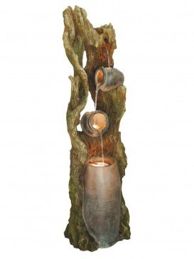 Pouring Driftwood Pots Water Feature with LED Lights by Aqua Creations - PWF3512