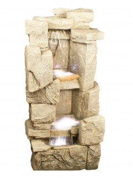 Carved Sandstone Rock Fall Water Feature with LED lights by Aqua Creations