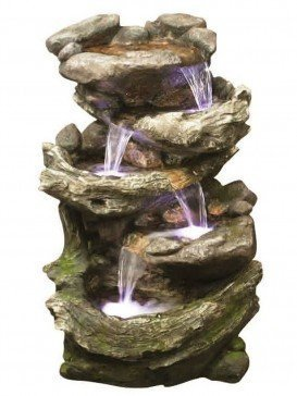 Rock & Wood Falls Water Feature with LED Lights by Aqua Creations - PWFD4043
