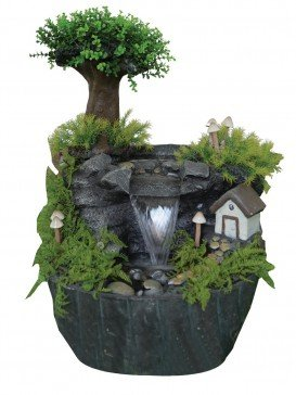 Fairy House in Forest Water Feature with LED Lights by Aqua Creations - PWFG1527