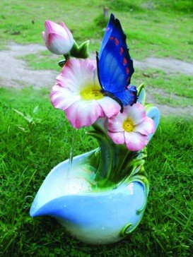 Blue Butterfly on Jug Water Feature