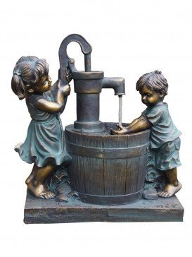 Boy & Girl at Barrel Water Feature By Aqua Creations
