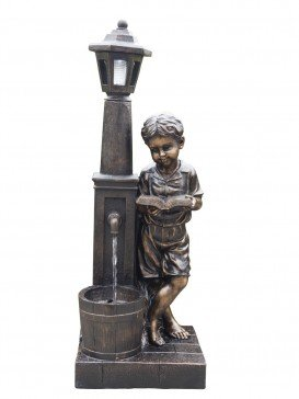 Boy Reading at Lamp Water Feature By Aqua Creations