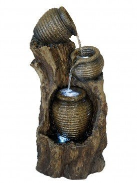 Three Ribbed Pots on Tree Trunk Water Feature