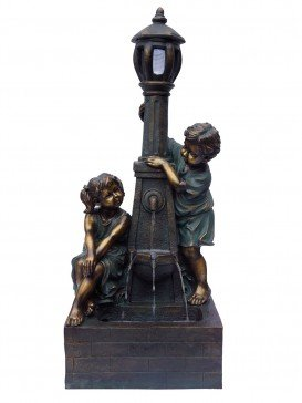 Playful Boy & Girl at Lamp Water Feature