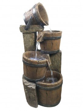 Four Pouring Wooden Barrels Water Feature with LED Lights by Aqua Creations - PWFX6368