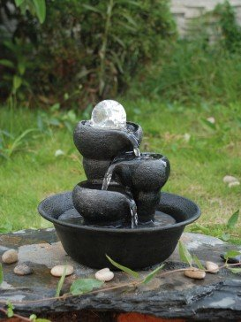 Malino Three Bowls Crystal Ball Table Top Indoor Water Feature