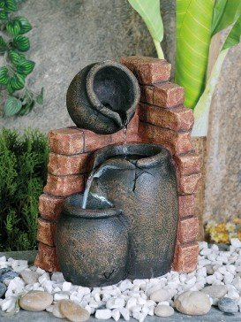 Three Pots On Brick Indoor Water Feature