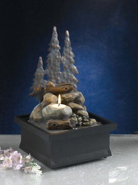 Forest Scene With Tea Light Indoor Water Feature