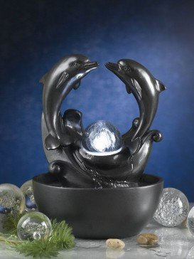 Twin Dolphin Crystal Ball Table Top Indoor Water Feature
