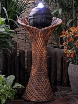 Rattan Pillar and Ball Water Feature