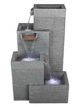 Rectangular Grey Pillars Water Feature
