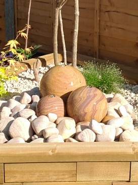 Rainbow Sandstone Trio Sphere With LED's, Pebble Pool and Cobbles Water Feature
