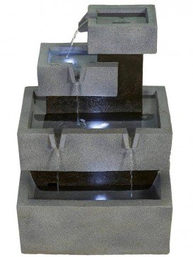 Solar Stacked Troughs Water Feature by Aqua Creations