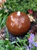 Aterno4 40cm Corten Steel Sphere Water Feature With Pebble Pool and LED Lights